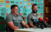 13 October 2019; Tadhg Furlong, left, and defence coach Andy Farrell during an Ireland Rugby press conference at the Grand Hyatt in Fukuoka, Japan. Photo by Brendan Moran/Sportsfile