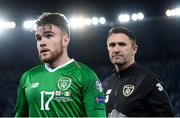 12 October 2019; Republic of Ireland's Aaron Connolly and assistant coach Robbie Keane following during the UEFA EURO2020 Qualifier match between Georgia and Republic of Ireland at the Boris Paichadze Erovnuli Stadium in Tbilisi, Georgia. Photo by Stephen McCarthy/Sportsfile