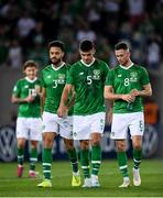 12 October 2019; Republic of Ireland players, from left, Derrick Williams, John Egan and Alan Browne following the UEFA EURO2020 Qualifier match between Georgia and Republic of Ireland at the Boris Paichadze Erovnuli Stadium in Tbilisi, Georgia. Photo by Stephen McCarthy/Sportsfile