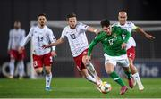 12 October 2019; Aaron Connolly of Republic of Ireland in action against Jano Ananidze of Georgia during the UEFA EURO2020 Qualifier match between Georgia and Republic of Ireland at the Boris Paichadze Erovnuli Stadium in Tbilisi, Georgia. Photo by Stephen McCarthy/Sportsfile