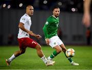 12 October 2019; Conor Hourihane of Republic of Ireland in action against Jaba Kankava of Georgia during the UEFA EURO2020 Qualifier match between Georgia and Republic of Ireland at the Boris Paichadze Erovnuli Stadium in Tbilisi, Georgia. Photo by Stephen McCarthy/Sportsfile