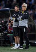 12 October 2019; Republic of Ireland manager Mick McCarthy and assistant coach Robbie Keane, left, during the UEFA EURO2020 Qualifier match between Georgia and Republic of Ireland at the Boris Paichadze Erovnuli Stadium in Tbilisi, Georgia. Photo by Stephen McCarthy/Sportsfile