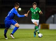 10 October 2019; Jayson Molumby of Republic of Ireland in action against Enrico Del Prato of Italy during the UEFA European U21 Championship Qualifier Group 1 match between Republic of Ireland and Italy at Tallaght Stadium in Tallaght, Dublin. Photo by Sam Barnes/Sportsfile
