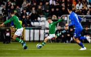 10 October 2019; Connor Ronan of Republic of Ireland takes a shot on goal during the UEFA European U21 Championship Qualifier Group 1 match between Republic of Ireland and Italy at Tallaght Stadium in Tallaght, Dublin. Photo by Sam Barnes/Sportsfile