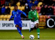 10 October 2019; Michael Obafemi of Republic of Ireland is tackled by Claud Adjapong of Italy during the UEFA European U21 Championship Qualifier Group 1 match between Republic of Ireland and Italy at Tallaght Stadium in Tallaght, Dublin. Photo by Sam Barnes/Sportsfile