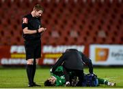 11 October 2019; Barry Coffey of Republic of Ireland receives medical treatment during the Under-19 International Friendly match between Republic of Ireland and Denmark at The Showgrounds in Sligo. Photo by Sam Barnes/Sportsfile