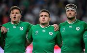 12 October 2019; Ireland players, from left, Jacob Stockdale, Niall Scannell and Iain Henderson during the Ireland's Call prior to the 2019 Rugby World Cup Pool A match between Ireland and Samoa at the Fukuoka Hakatanomori Stadium in Fukuoka, Japan. Photo by Brendan Moran/Sportsfile