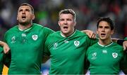 12 October 2019; Ireland players, from left, Tadhg Beirne, Peter O'Mahony, and Joey Carbery during the Ireland's Call prior to the 2019 Rugby World Cup Pool A match between Ireland and Samoa at the Fukuoka Hakatanomori Stadium in Fukuoka, Japan. Photo by Brendan Moran/Sportsfile