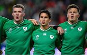 12 October 2019; Ireland players, from left, Peter O'Mahony, Joey Carbery and Jacob Stockdale during the Ireland's Call prior to the 2019 Rugby World Cup Pool A match between Ireland and Samoa at the Fukuoka Hakatanomori Stadium in Fukuoka, Japan. Photo by Brendan Moran/Sportsfile