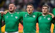 12 October 2019; Ireland players, from left, Dave Kilcoyne, Andrew Conway and Luke McGrath during the Ireland's Call prior to the 2019 Rugby World Cup Pool A match between Ireland and Samoa at the Fukuoka Hakatanomori Stadium in Fukuoka, Japan. Photo by Brendan Moran/Sportsfile