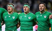 12 October 2019; Ireland players, from left, Josh van der Flier, CJ Stander and Robbie Henshaw during the Ireland's Call prior to the 2019 Rugby World Cup Pool A match between Ireland and Samoa at the Fukuoka Hakatanomori Stadium in Fukuoka, Japan. Photo by Brendan Moran/Sportsfile