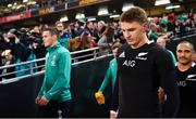 17 November 2018; Beauden Barrett of New Zealand walks out alongside Jonathan Sexton of Ireland, left, prior to the Guinness Series International match between Ireland and New Zealand at Aviva Stadium, Dublin. Photo by Brendan Moran/Sportsfile