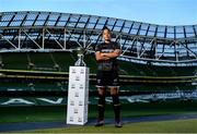 16 October 2019; Rianna Jarrett of Wexford Youths with the Só Hotels FAI Women's Cup during the FAI Cup Finals Day Photo Call at the Aviva Stadium in Dublin. Photo by Harry Murphy/Sportsfile