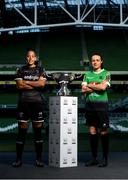 16 October 2019; Rianna Jarrett of Wexford Youths and Áine O'Gorman of Peamount United with the Só Hotels FAI Women's Cup during the FAI Cup Finals Day Photo Call at the Aviva Stadium in Dublin. Photo by Harry Murphy/Sportsfile