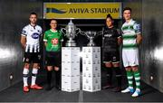 16 October 2019; Robbie Benson of Dundalk, Áine O'Gorman of Peamount United, Rianna Jarrett of Wexford Youths and Ronan Finn of Shamrock Rovers with the extra.ie FAI Cup and the Só Hotels FAI Women's Cup  during the FAI Cup Finals Day Photo Call at the Aviva Stadium in Dublin. Photo by Harry Murphy/Sportsfile