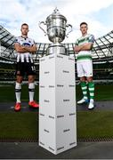 16 October 2019; Robbie Benson of Dundalk and Ronan Finn of Shamrock Rovers with the extra.ie FAI Cup during the FAI Cup Finals Day Photo Call at the Aviva Stadium in Dublin. Photo by Harry Murphy/Sportsfile