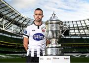 16 October 2019; Robbie Benson of Dundalk with the extra.ie FAI Cup during the FAI Cup Finals Day Photo Call at the Aviva Stadium in Dublin. Photo by Harry Murphy/Sportsfile