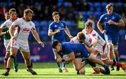 13 October 2019; Dan Sheehan of Leinster A is tackled by Jack Regan of Ulster A during the Celtic Cup Final match between Leinster A and Ulster A at Energia Park in Donnybrook, Dublin. Photo by Ramsey Cardy/Sportsfile