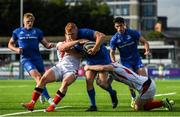 13 October 2019; Gavin Mullin of Leinster A is tackled by Angus Kernohan, left, and Nathan Doak of Ulster A during the Celtic Cup Final match between Leinster A and Ulster A at Energia Park in Donnybrook, Dublin. Photo by Ramsey Cardy/Sportsfile