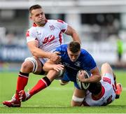 13 October 2019; Oisín Dowling of Leinster A is tackled by David O'Connor, left, and Ethan McIlroy of Ulster A during the Celtic Cup Final match between Leinster A and Ulster A at Energia Park in Donnybrook, Dublin. Photo by Ramsey Cardy/Sportsfile