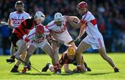 13 October 2019; De La Salle players, from left, Conor Giles Doran, Shane McNulty, and Eddie Barrett in action against Ballygunner players Michael Mahony, left, and Peter Hogan during the Waterford County Senior Club Hurling Championship Final match between Ballygunner and De La Salle at Walsh Park in Waterford. Photo by Piaras Ó Mídheach/Sportsfile