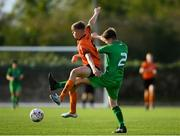 13 October 2019; Evan Ferguson of Bohemians in action against Kian Clancy of Kerry during the SSE Airtricity League - U17 Mark Farren Cup Final match between Kerry and Bohemians at Mounthawk Park in Tralee, Kerry. Photo by Harry Murphy/Sportsfile