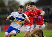 13 October 2019; Aidan McCrory of Errigal Ciaran in action against Lee Brennan of Trillick during the Tyrone County Senior Club Football Championship Final match between Errigal Ciaran and Trillick at Healy Park in Omagh, Tyrone. Photo by Oliver McVeigh/Sportsfile