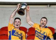 13 October 2019; Sixmilebridge joint captains Noel Purcell and Seadna Morey lift the cup after the Clare County Senior Club Hurling Championship Final match between Cratloe and Sixmilebridge at Cusack Park in Ennis, Clare. Photo by Diarmuid Greene/Sportsfile