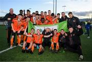 13 October 2019; Bohemians players celebrate with the trophy following the SSE Airtricity League - U17 Mark Farren Cup Final match between Kerry and Bohemians at Mounthawk Park in Tralee, Kerry. Photo by Harry Murphy/Sportsfile