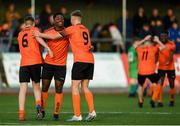 13 October 2019; Bohemians players including Precious Omochere, centre, celebrate at the full-time whistle following the SSE Airtricity League - U17 Mark Farren Cup Final match between Kerry and Bohemians at Mounthawk Park in Tralee, Kerry. Photo by Harry Murphy/Sportsfile