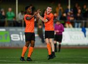 13 October 2019; Bohemians players Precious Omochere, left, and Robbie Mahon celebrate at the full-time whistle following the SSE Airtricity League - U17 Mark Farren Cup Final match between Kerry and Bohemians at Mounthawk Park in Tralee, Kerry. Photo by Harry Murphy/Sportsfile