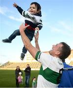 13 October 2019; Kieran Lillis of Portlaoise celebrates with his nephew Daniel O'Connor, age 2, following the Laois County Senior Club Football Championship Final match between Portlaoise and Killeshin at O'Moore Park in Portlaoise, Laois. Photo by David Fitzgerald/Sportsfile