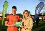 13 October 2019; Evan Ferguson of Bohemians is presented his Man of the Match award by Leanna Sheill of SSE Airtricity following the SSE Airtricity League - U17 Mark Farren Cup Final match between Kerry and Bohemians at Mounthawk Park in Tralee, Kerry. Photo by Harry Murphy/Sportsfile
