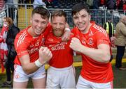 13 October 2019; Liam Gray, Damian Kelly and Lee Brennan of Trillick celebrate after the Tyrone County Senior Club Football Championship Final match between Errigal Ciaran and Trillick at Healy Park in Omagh, Tyrone. Photo by Oliver McVeigh/Sportsfile