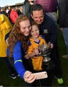 13 October 2019; Sixmilebridge supporters Brid Gilligan and Anna Gilligan take a selfie with Sixmilebridge coach Davy Fitzgerald after the Clare County Senior Club Hurling Championship Final match between Cratloe and Sixmilebridge at Cusack Park in Ennis, Clare. Photo by Diarmuid Greene/Sportsfile