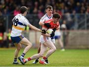 13 October 2019; Rory Brennan of Trillick in action against Thomas and Darragh Canavan of Errigal Ciaran during the Tyrone County Senior Club Football Championship Final match between Errigal Ciaran and Trillick at Healy Park in Omagh, Tyrone. Photo by Oliver McVeigh/Sportsfile