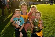 13 October 2019; Niall Gilligan of Sixmilebridge celebrates with his children Michael, aged 5, Ellie, aged 3, and Anna, aged 8, after the Clare County Senior Club Hurling Championship Final match between Cratloe and Sixmilebridge at Cusack Park in Ennis, Clare. Photo by Diarmuid Greene/Sportsfile