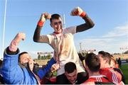 13 October 2019; Paul Whelan of Padraig Pearses celebrates with supporters following the Roscommon County Senior Club Football Championship Final match between Padraig Pearses and Roscommon Gaels at Dr Hyde Park in Roscommon. Photo by Sam Barnes/Sportsfile