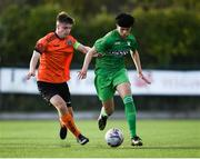 13 October 2019; Nathen Gleeson of Kerry in action against Sean McManus of Bohemians during the SSE Airtricity League - U17 Mark Farren Cup Final match between Kerry and Bohemians at Mounthawk Park in Tralee, Kerry. Photo by Harry Murphy/Sportsfile