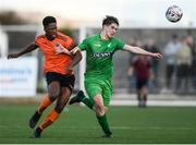 13 October 2019; Precious Omochere of Bohemians in action against Kian Clancy of Kerry during the SSE Airtricity League - U17 Mark Farren Cup Final match between Kerry and Bohemians at Mounthawk Park in Tralee, Kerry. Photo by Harry Murphy/Sportsfile