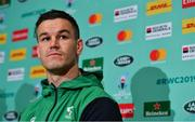 14 October 2019; Jonathan Sexton during an Ireland Rugby press conference at the Grand Hyatt in Fukuoka, Japan. Photo by Brendan Moran/Sportsfile