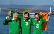 14 October 2019; Republic of Ireland supporters, from left, Máirtín and Dualtach Mac Colgáin, and Séamus Daly, from Celbridge, Co Kildare, in Geneva ahead of their side's UEFA EURO2020 Qualifier against Switzerland. Photo by Seb Daly/Sportsfile