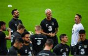 14 October 2019; Republic of Ireland manager Mick McCarthy, centre, with Shane Duffy, left, and assistant coach Robbie Keane, right, during a Republic of Ireland training session at Stade de Genève in Geneva, Switzerland. Photo by Seb Daly/Sportsfile