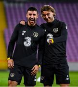 14 October 2019; Enda Stevens, left, and Jeff Hendrick during a Republic of Ireland training session at Stade de Genève in Geneva, Switzerland. Photo by Stephen McCarthy/Sportsfile