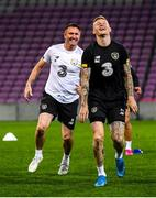 14 October 2019; James McClean and assistant coach Robbie Keane, left, during a Republic of Ireland training session at Stade de Genève in Geneva, Switzerland. Photo by Stephen McCarthy/Sportsfile