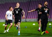 14 October 2019; James McClean, left, Aaron Connolly and Shane Duffy, right, during a Republic of Ireland training session at Stade de Genève in Geneva, Switzerland. Photo by Stephen McCarthy/Sportsfile