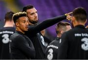 14 October 2019; Shane Duffy and Callum Robinson, left, during a Republic of Ireland training session at Stade de Genève in Geneva, Switzerland. Photo by Stephen McCarthy/Sportsfile