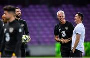 14 October 2019; Republic of Ireland manager Mick McCarthy with Shane Duffy, left, and assistant coach Robbie Keane, right, during a Republic of Ireland training session at Stade de Genève in Geneva, Switzerland. Photo by Stephen McCarthy/Sportsfile