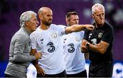 14 October 2019; Republic of Ireland manager Mick McCarthy with, from left, Mick Lawlor, kit & equipment manager, fitness coach Andy Liddle and assistant coach Robbie Keane during a Republic of Ireland training session at Stade de Genève in Geneva, Switzerland. Photo by Stephen McCarthy/Sportsfile