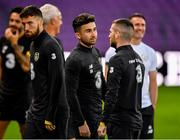 14 October 2019; Republic of Ireland players, from left, Matt Doherty, Sean Maguire and Jack Byrne during a training session at Stade de Genève in Geneva, Switzerland. Photo by Seb Daly/Sportsfile